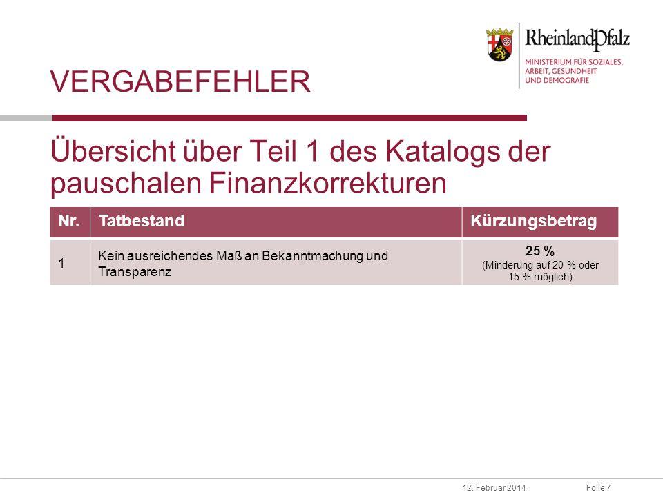 Übersicht über Teil 1 des Katalogs der pauschalen Finanzkorrekturen