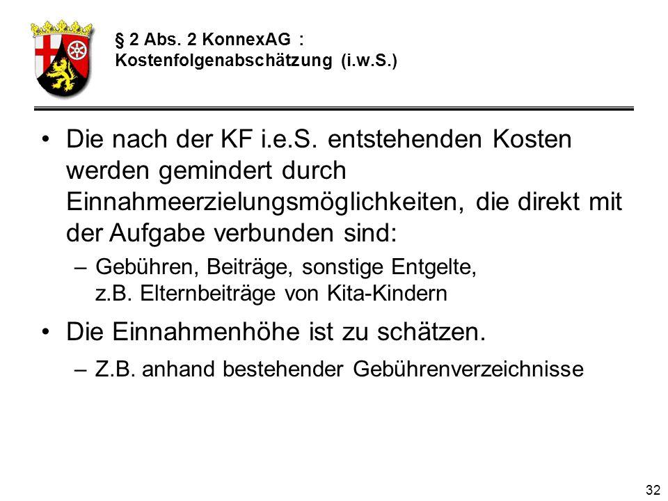 § 2 Abs. 2 KonnexAG : Kostenfolgenabschätzung (i.w.S.)