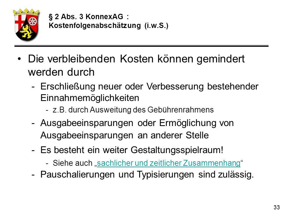 § 2 Abs. 3 KonnexAG : Kostenfolgenabschätzung (i.w.S.)