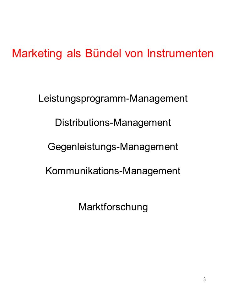 Marketing-Mix 1. Leistungsprogramm-Management