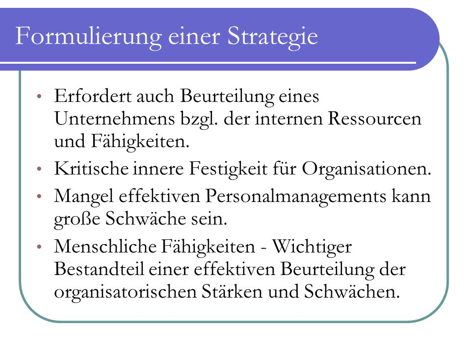 Formulierung einer Strategie