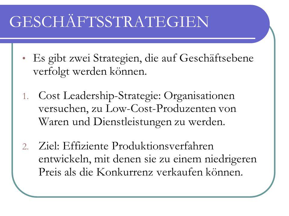 GESCHÄFTSSTRATEGIEN Es gibt zwei Strategien, die auf Geschäftsebene verfolgt werden können.