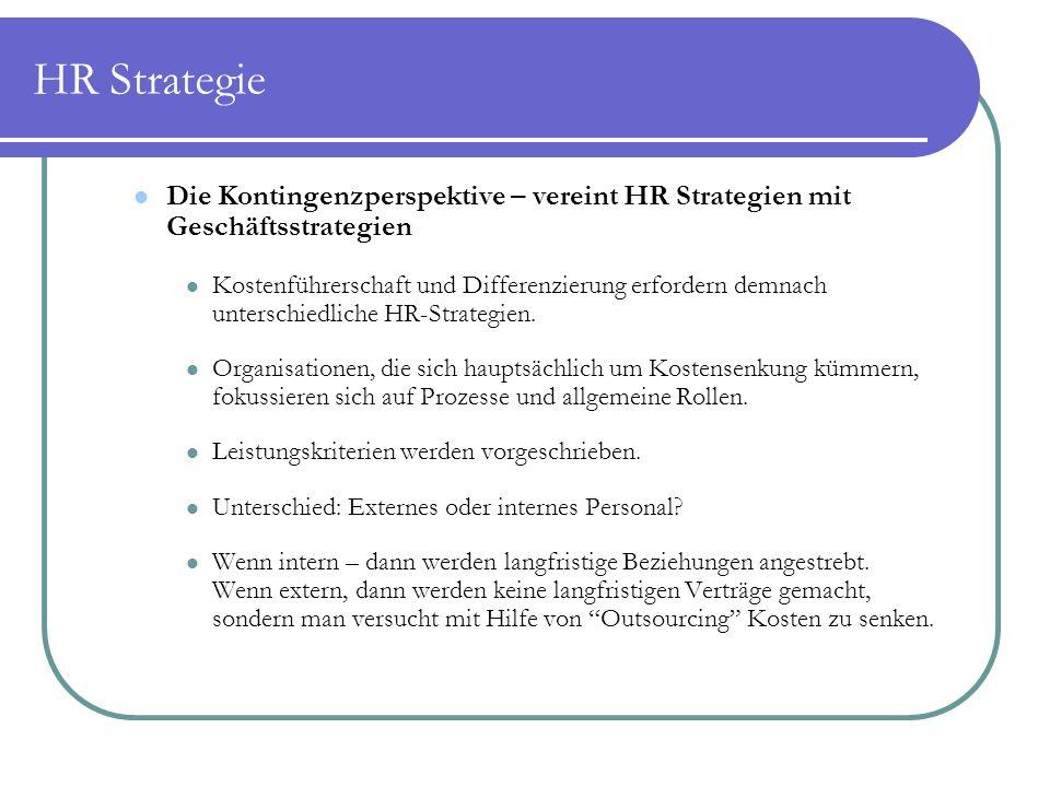 HR Strategie Die Kontingenzperspektive – vereint HR Strategien mit Geschäftsstrategien.