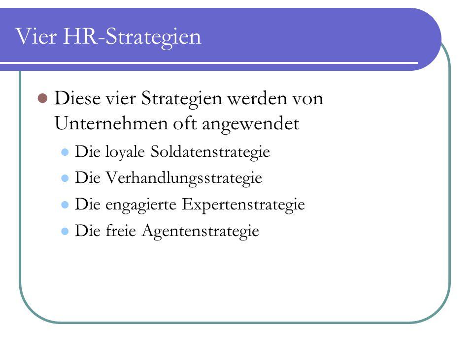 Vier HR-Strategien Diese vier Strategien werden von Unternehmen oft angewendet. Die loyale Soldatenstrategie.
