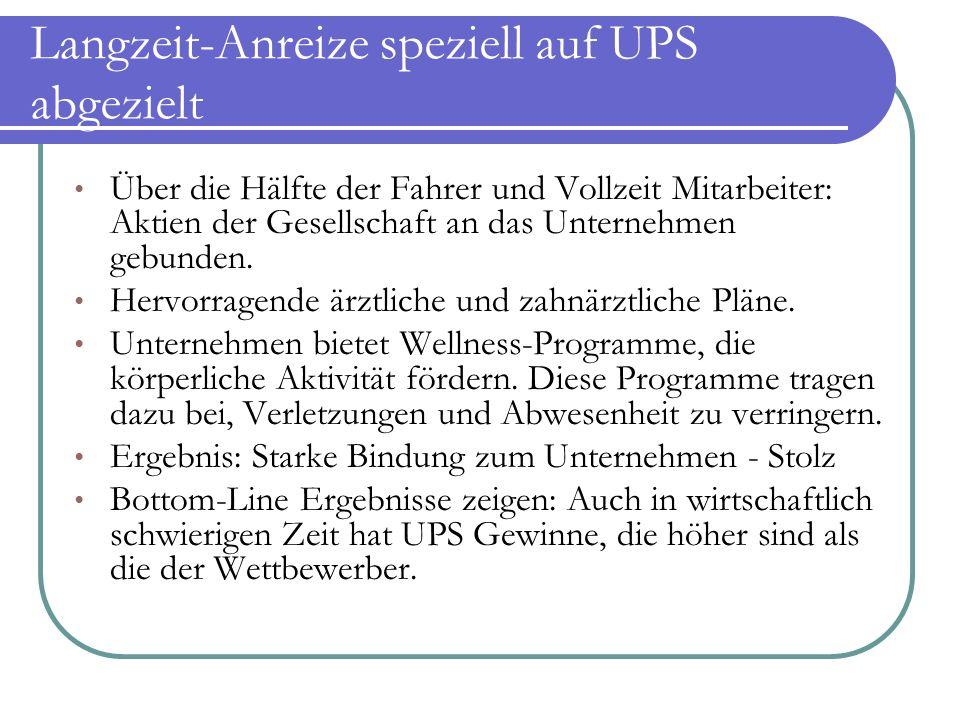 Langzeit-Anreize speziell auf UPS abgezielt