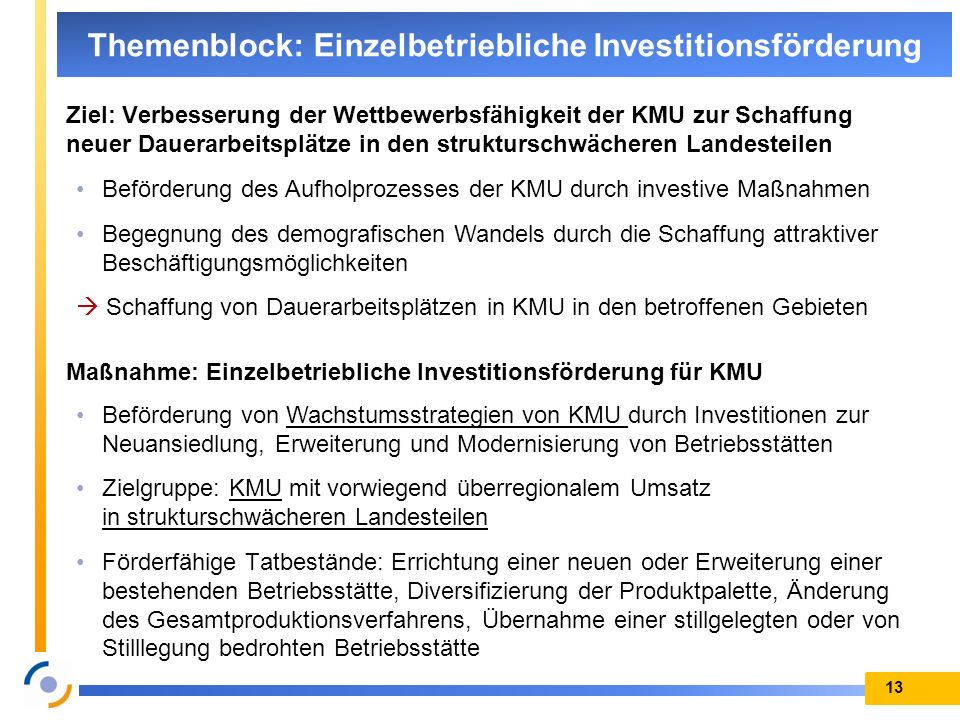 Themenblock: Einzelbetriebliche Investitionsförderung