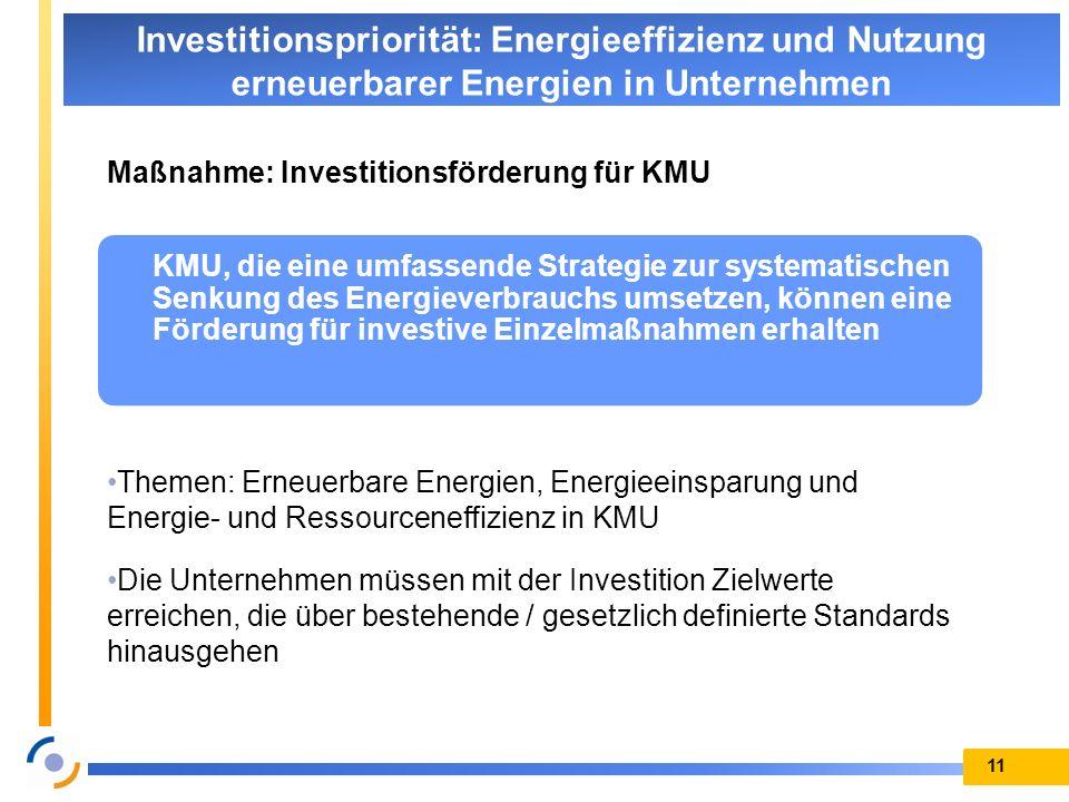 Investitionspriorität: Energieeffizienz und Nutzung erneuerbarer Energien in Unternehmen