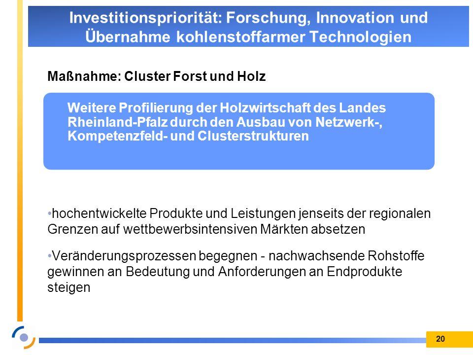 Investitionspriorität: Forschung, Innovation und Übernahme kohlenstoffarmer Technologien