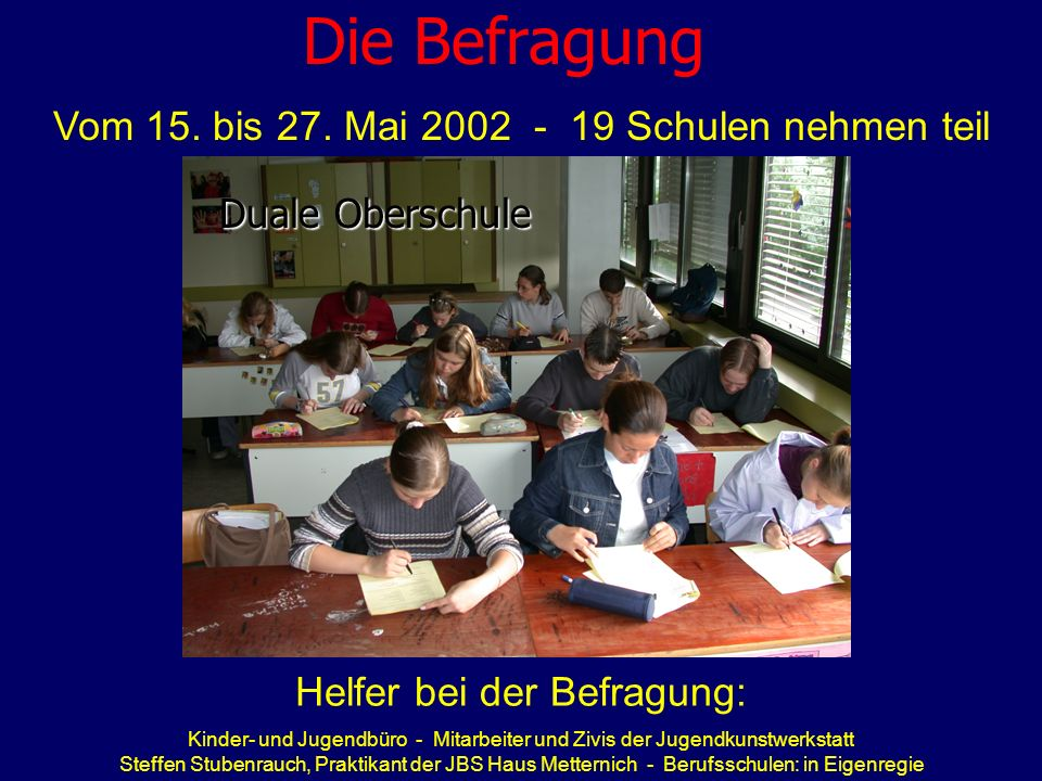 Die Befragung Vom 15. bis 27. Mai 2002 - 19 Schulen nehmen teil