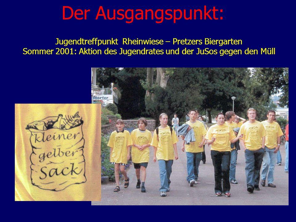 Der Ausgangspunkt: Jugendtreffpunkt Rheinwiese – Pretzers Biergarten Sommer 2001: Aktion des Jugendrates und der JuSos gegen den Müll.