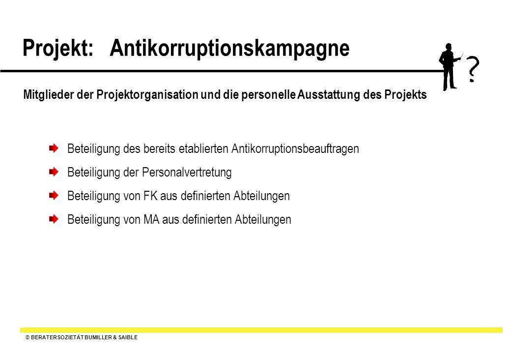 Mitglieder der Projektorganisation und die personelle Ausstattung des Projekts. Beteiligung des bereits etablierten Antikorruptionsbeauftragen.