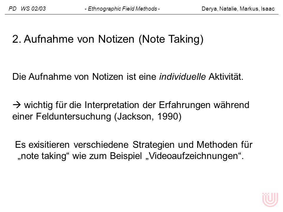 2. Aufnahme von Notizen (Note Taking)