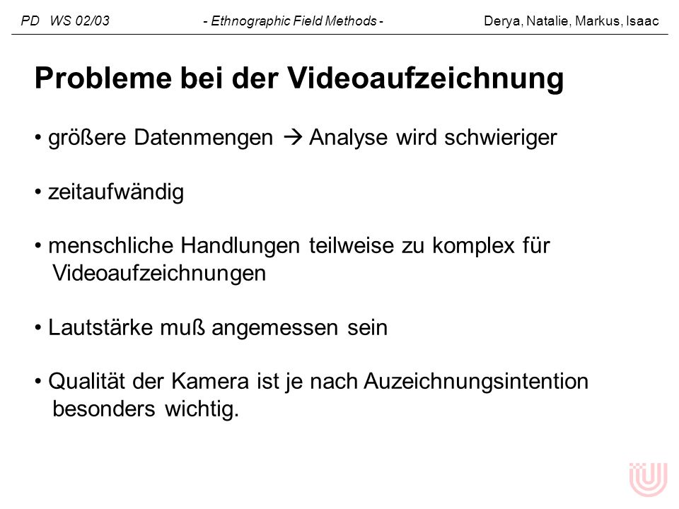 Probleme bei der Videoaufzeichnung
