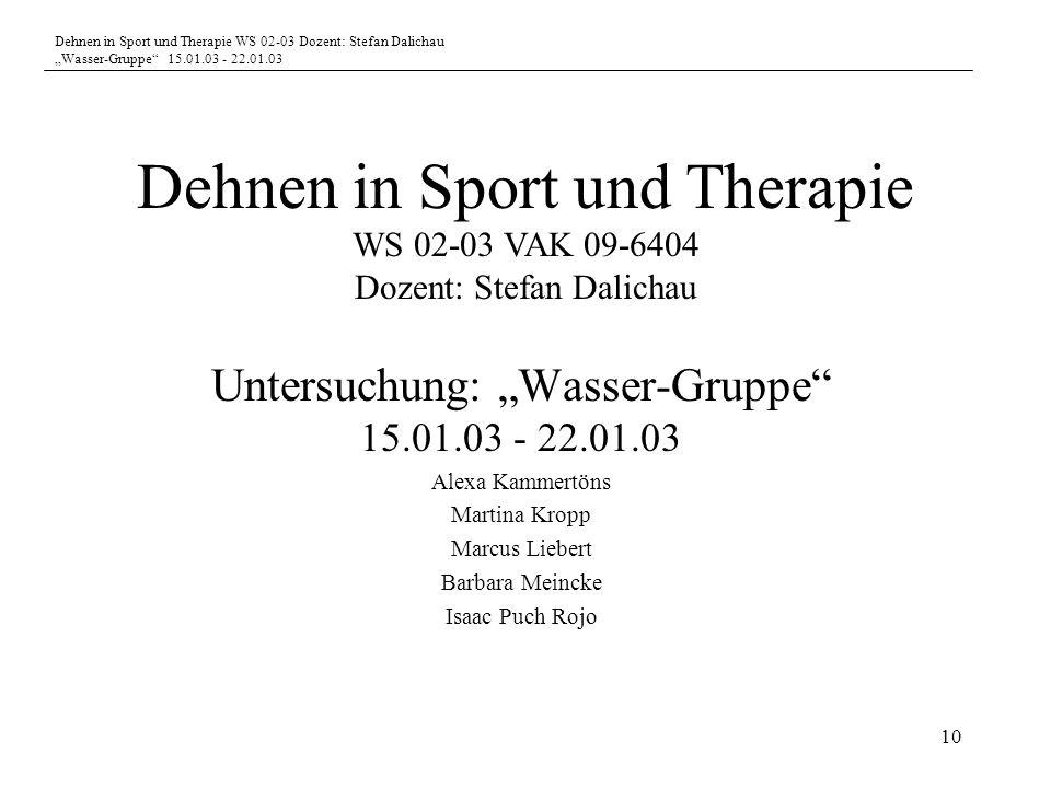 Dehnen in Sport und Therapie