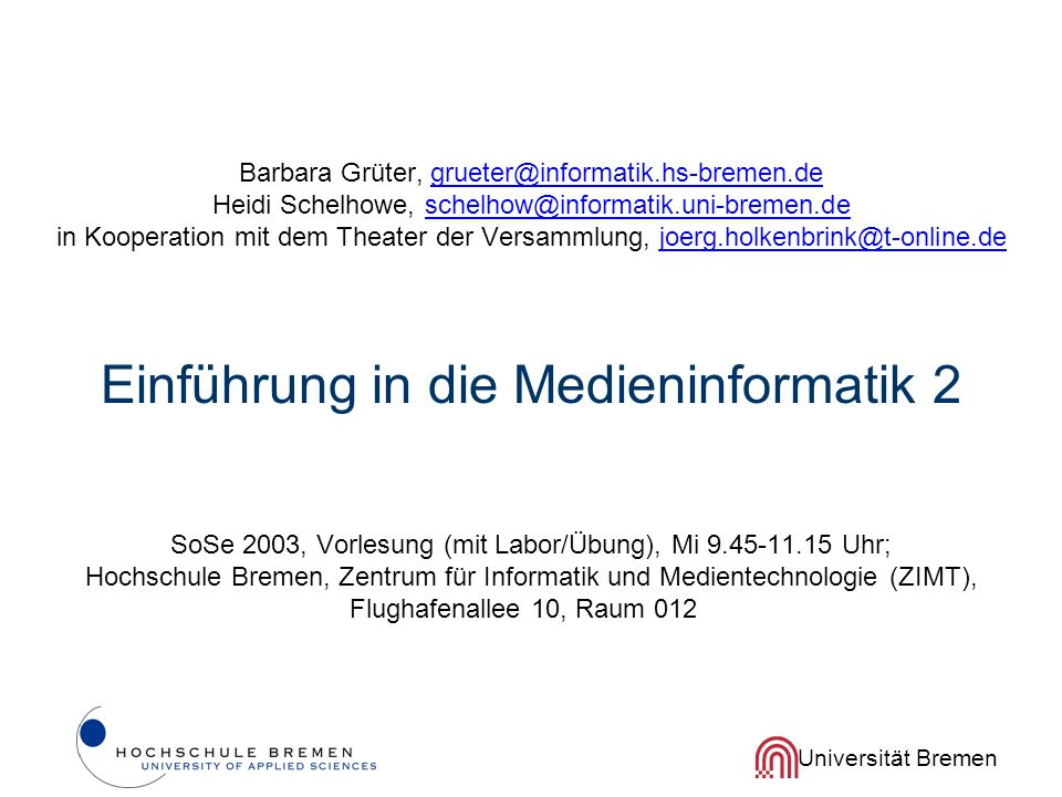 Barbara Grüter, grueter@informatik. hs-bremen