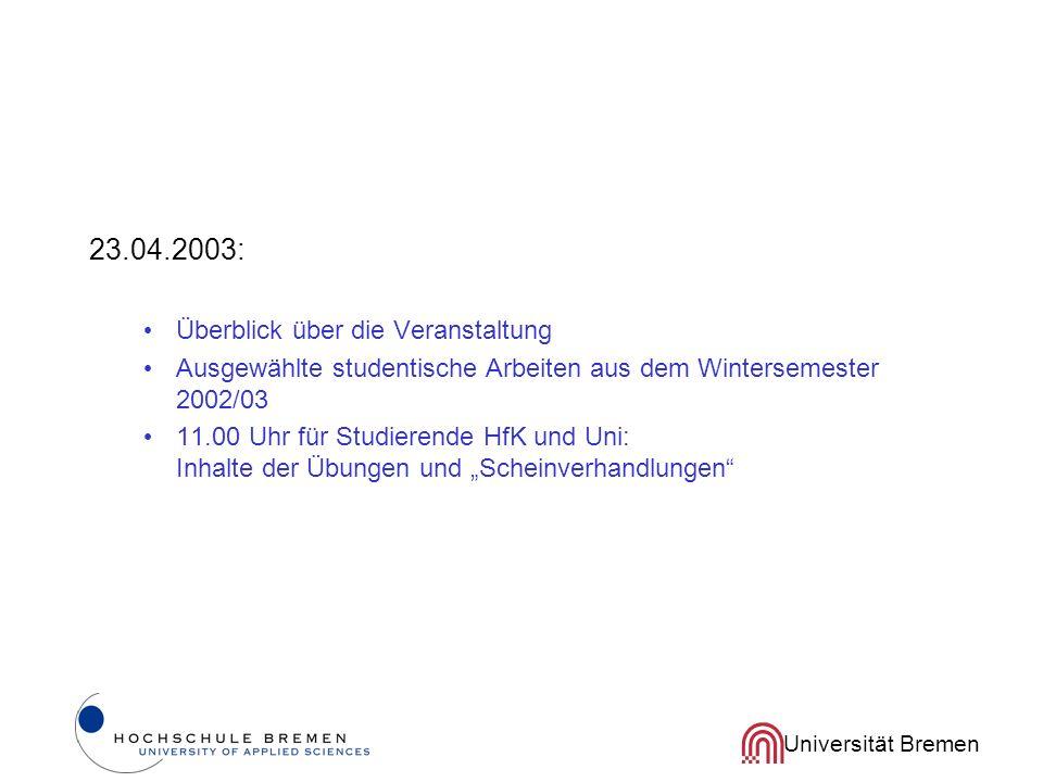 23.04.2003: Überblick über die Veranstaltung