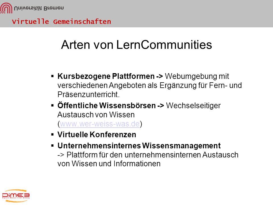 Arten von LernCommunities