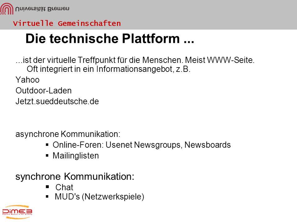 Die technische Plattform ...