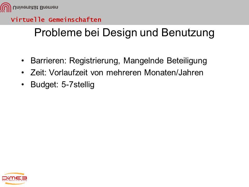 Probleme bei Design und Benutzung