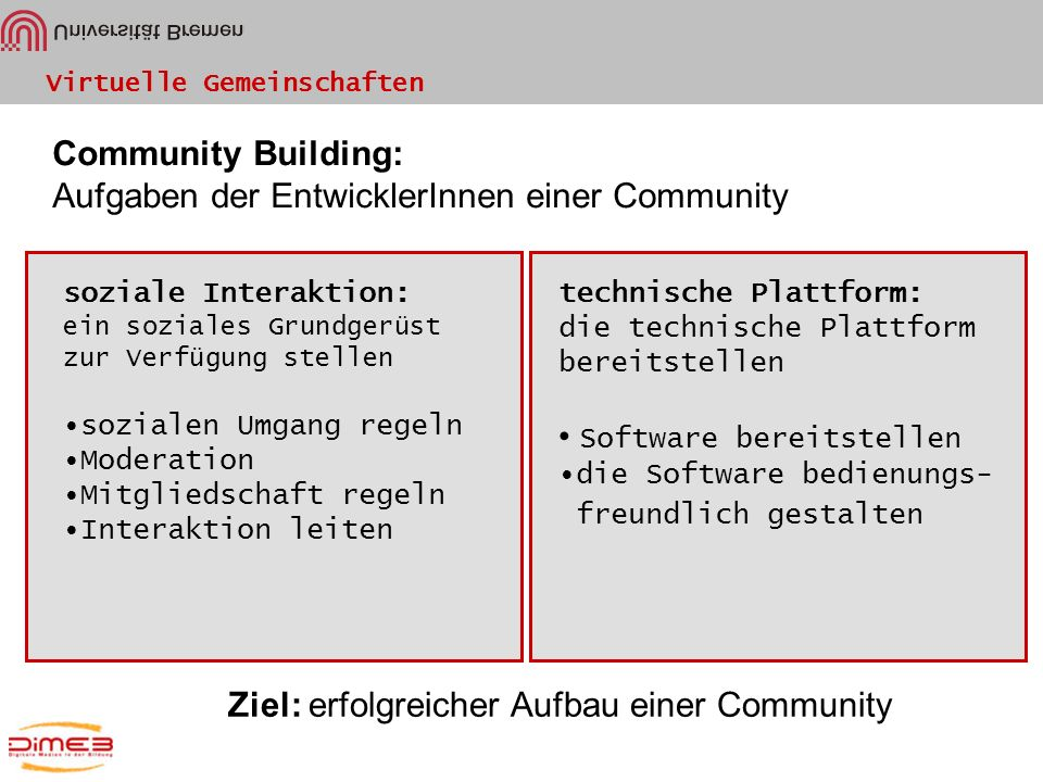 Aufgaben der EntwicklerInnen einer Community