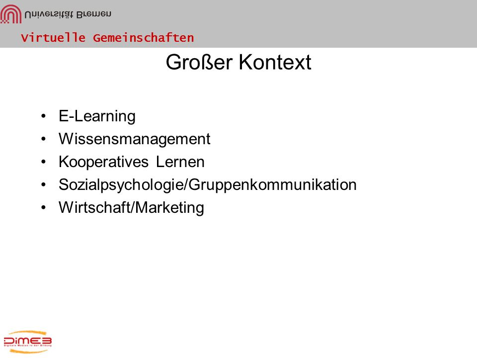 Großer Kontext E-Learning Wissensmanagement Kooperatives Lernen