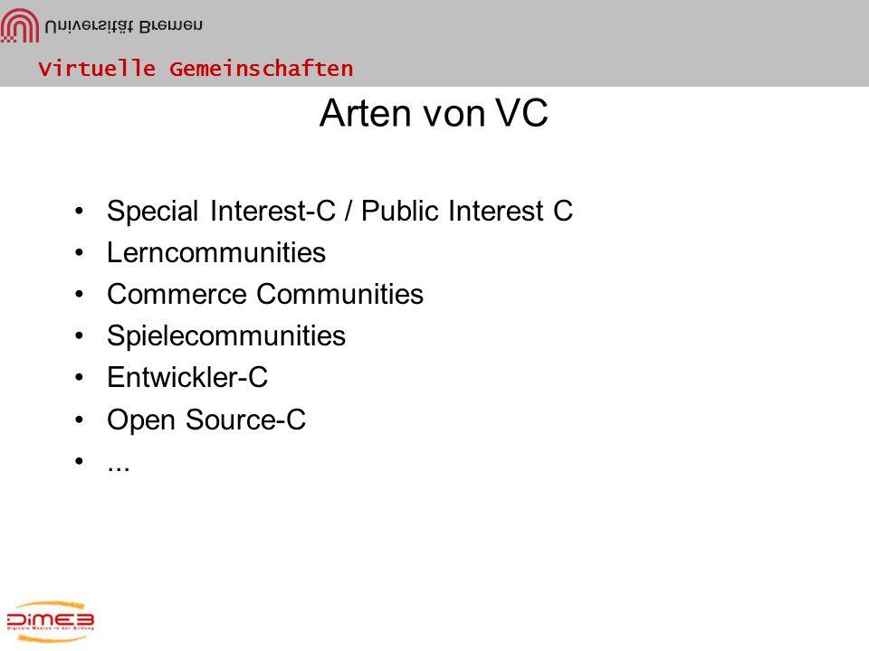Arten von VC Special Interest-C / Public Interest C Lerncommunities