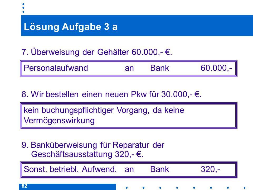 Lösung Aufgabe 3 a 7. Überweisung der Gehälter 60.000,- €.
