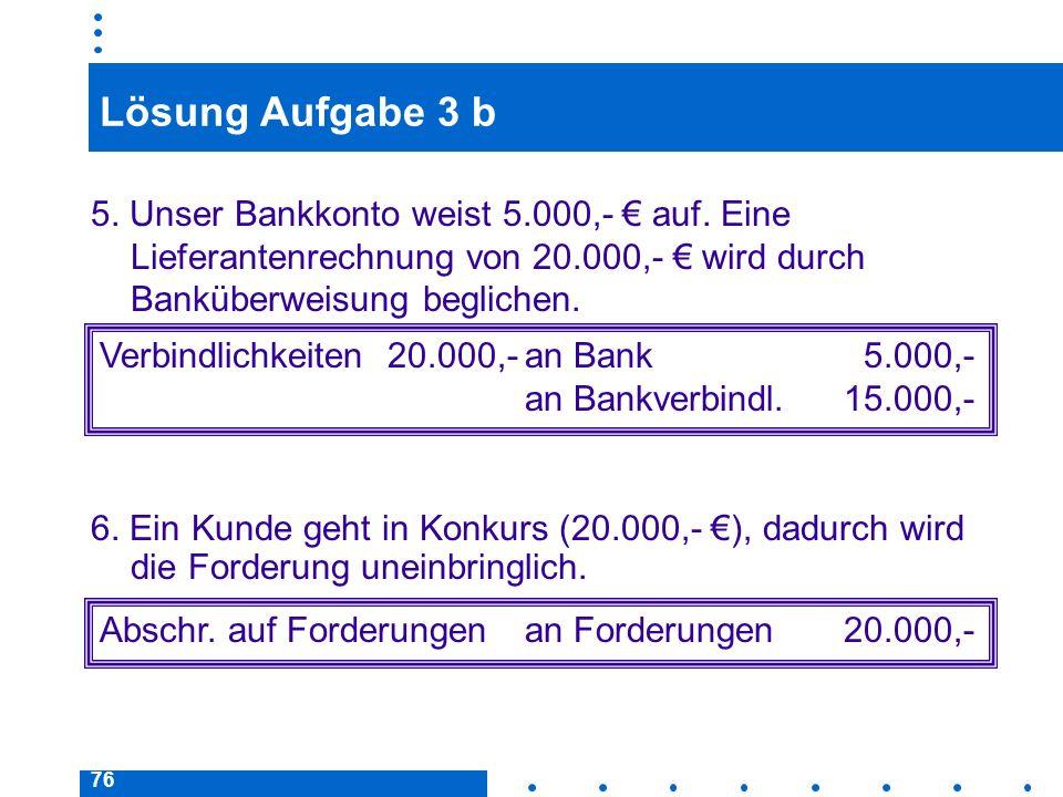 Lösung Aufgabe 3 b 5. Unser Bankkonto weist 5.000,- € auf. Eine Lieferantenrechnung von 20.000,- € wird durch Banküberweisung beglichen.