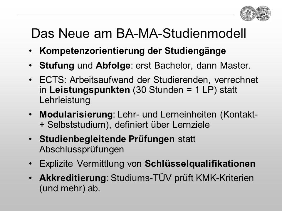 Das Neue am BA-MA-Studienmodell