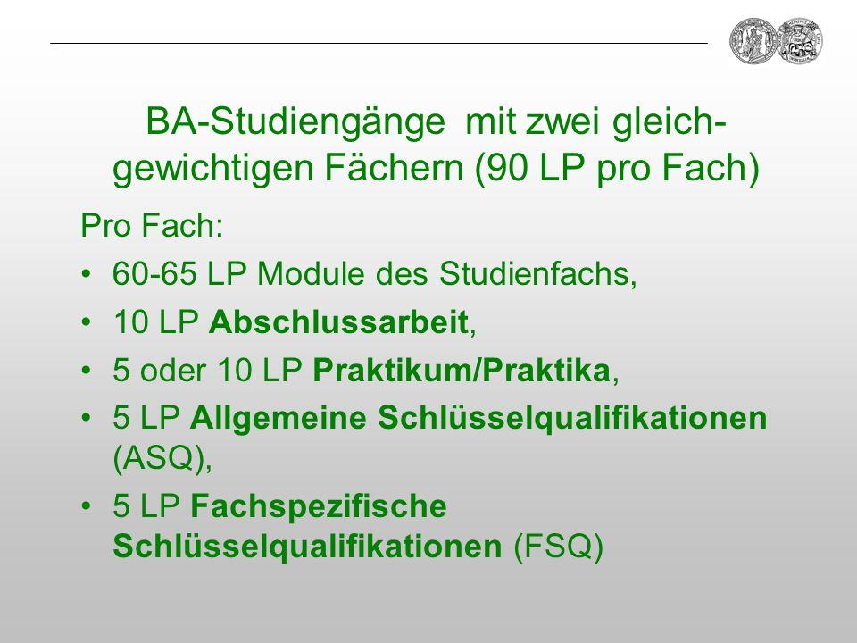 BA-Studiengänge mit zwei gleich-gewichtigen Fächern (90 LP pro Fach)