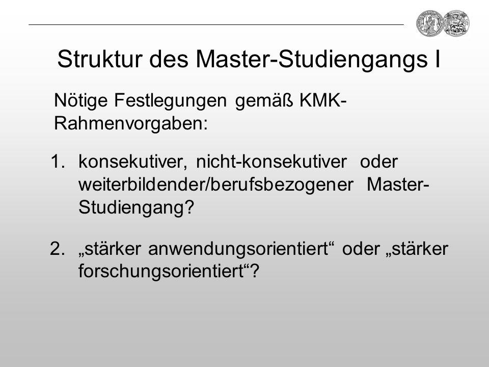 Struktur des Master-Studiengangs I