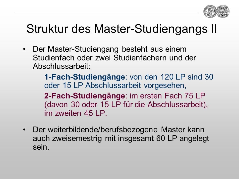 Struktur des Master-Studiengangs II