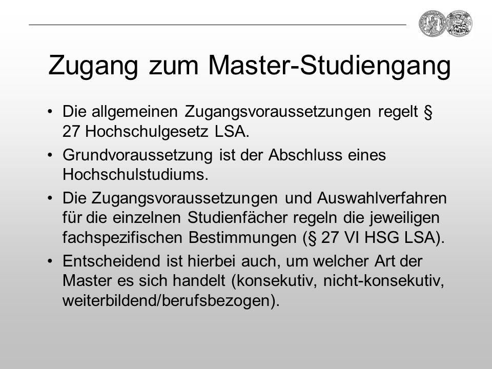 Zugang zum Master-Studiengang