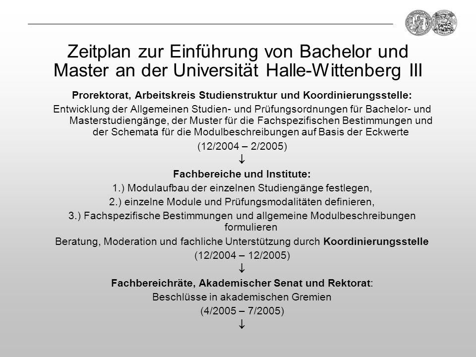 Zeitplan zur Einführung von Bachelor und Master an der Universität Halle-Wittenberg III