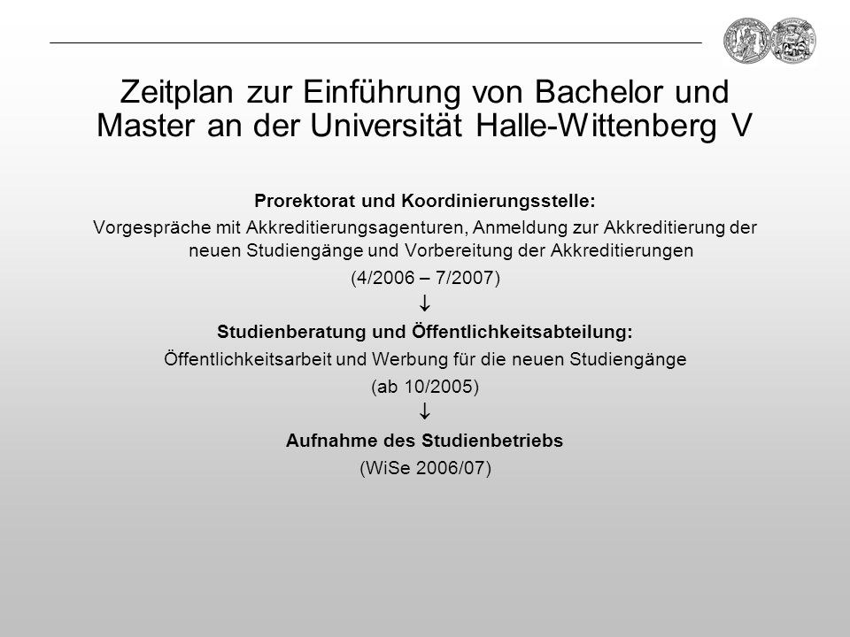 Zeitplan zur Einführung von Bachelor und Master an der Universität Halle-Wittenberg V