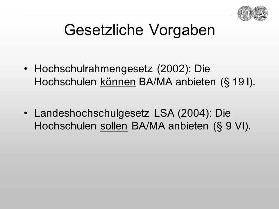 Gesetzliche VorgabenHochschulrahmengesetz (2002): Die Hochschulen können BA/MA anbieten (§ 19 I).