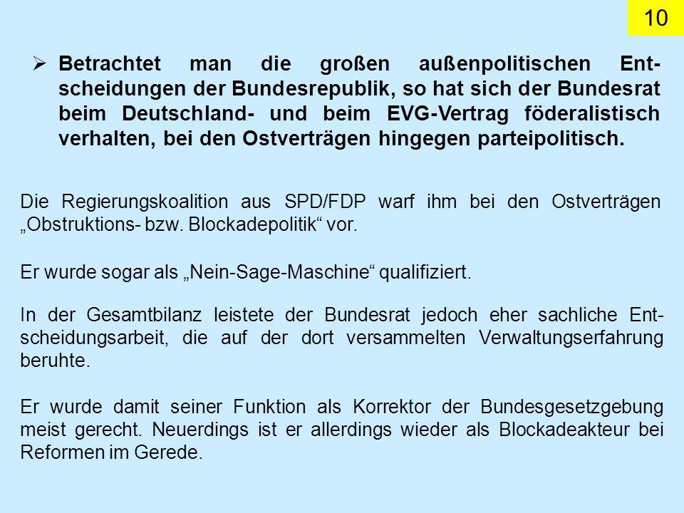 Betrachtet man die großen außenpolitischen Ent-scheidungen der Bundesrepublik, so hat sich der Bundesrat beim Deutschland- und beim EVG-Vertrag föderalistisch verhalten, bei den Ostverträgen hingegen parteipolitisch.