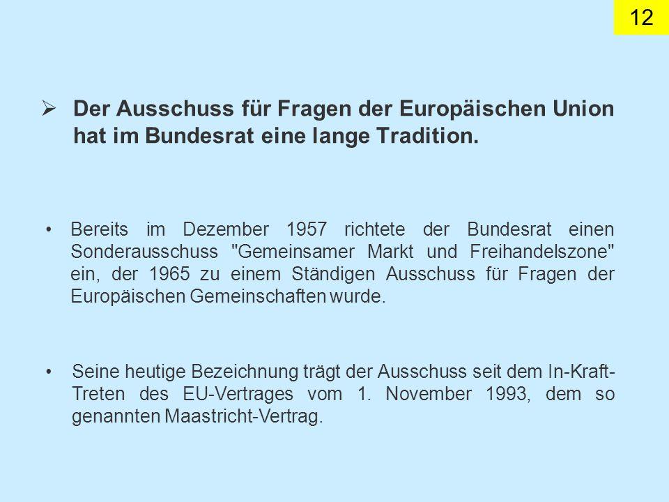 Der Ausschuss für Fragen der Europäischen Union hat im Bundesrat eine lange Tradition.