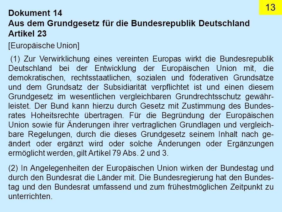 Aus dem Grundgesetz für die Bundesrepublik Deutschland Artikel 23