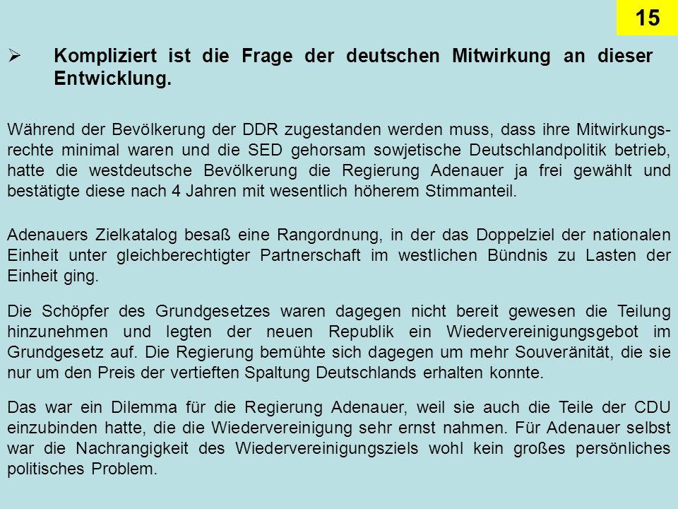 Kompliziert ist die Frage der deutschen Mitwirkung an dieser Entwicklung.