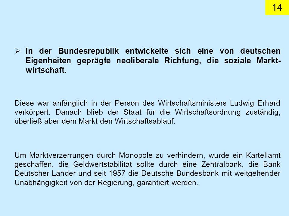 In der Bundesrepublik entwickelte sich eine von deutschen Eigenheiten geprägte neoliberale Richtung, die soziale Markt-wirtschaft.
