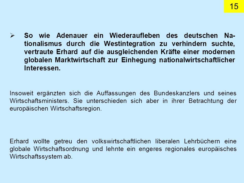 So wie Adenauer ein Wiederaufleben des deutschen Na-tionalismus durch die Westintegration zu verhindern suchte, vertraute Erhard auf die ausgleichenden Kräfte einer modernen globalen Marktwirtschaft zur Einhegung nationalwirtschaftlicher Interessen.