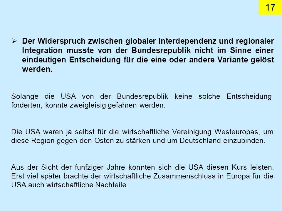 Der Widerspruch zwischen globaler Interdependenz und regionaler Integration musste von der Bundesrepublik nicht im Sinne einer eindeutigen Entscheidung für die eine oder andere Variante gelöst werden.