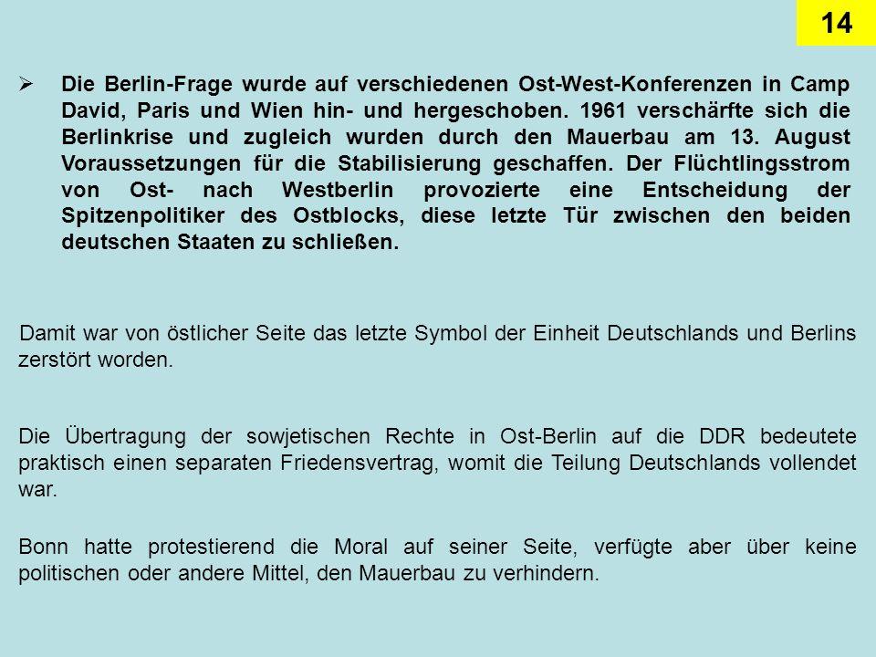Die Berlin-Frage wurde auf verschiedenen Ost-West-Konferenzen in Camp David, Paris und Wien hin- und hergeschoben. 1961 verschärfte sich die Berlinkrise und zugleich wurden durch den Mauerbau am 13. August Voraussetzungen für die Stabilisierung geschaffen. Der Flüchtlingsstrom von Ost- nach Westberlin provozierte eine Entscheidung der Spitzenpolitiker des Ostblocks, diese letzte Tür zwischen den beiden deutschen Staaten zu schließen.