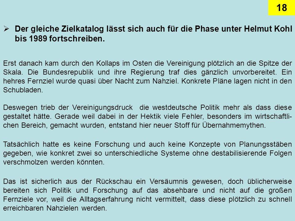 Der gleiche Zielkatalog lässt sich auch für die Phase unter Helmut Kohl bis 1989 fortschreiben.