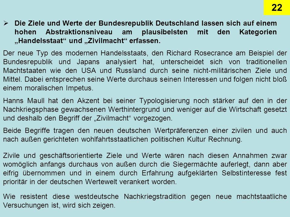 """Die Ziele und Werte der Bundesrepublik Deutschland lassen sich auf einem hohen Abstraktionsniveau am plausibelsten mit den Kategorien """"Handelsstaat und """"Zivilmacht erfassen."""