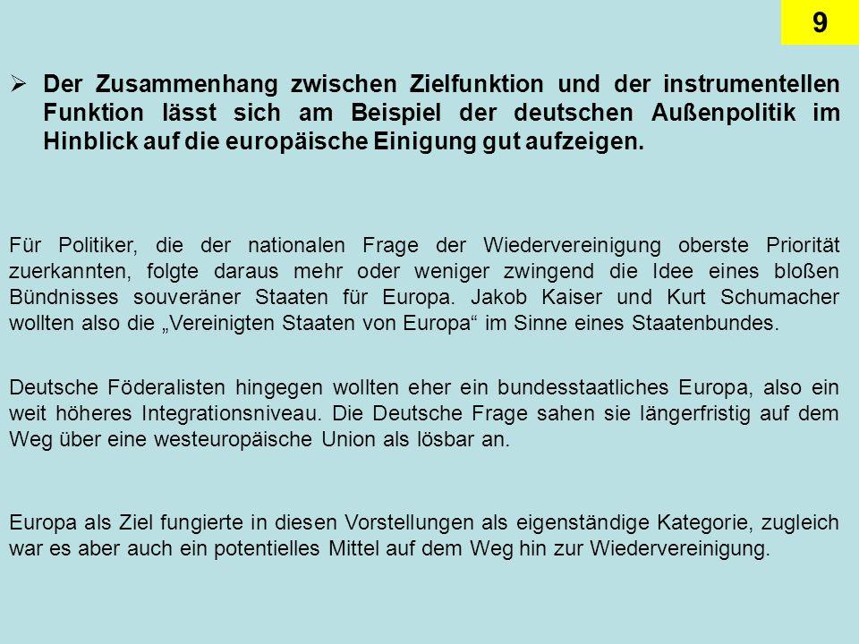 Der Zusammenhang zwischen Zielfunktion und der instrumentellen Funktion lässt sich am Beispiel der deutschen Außenpolitik im Hinblick auf die europäische Einigung gut aufzeigen.
