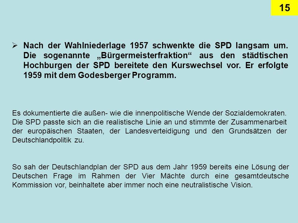 Nach der Wahlniederlage 1957 schwenkte die SPD langsam um