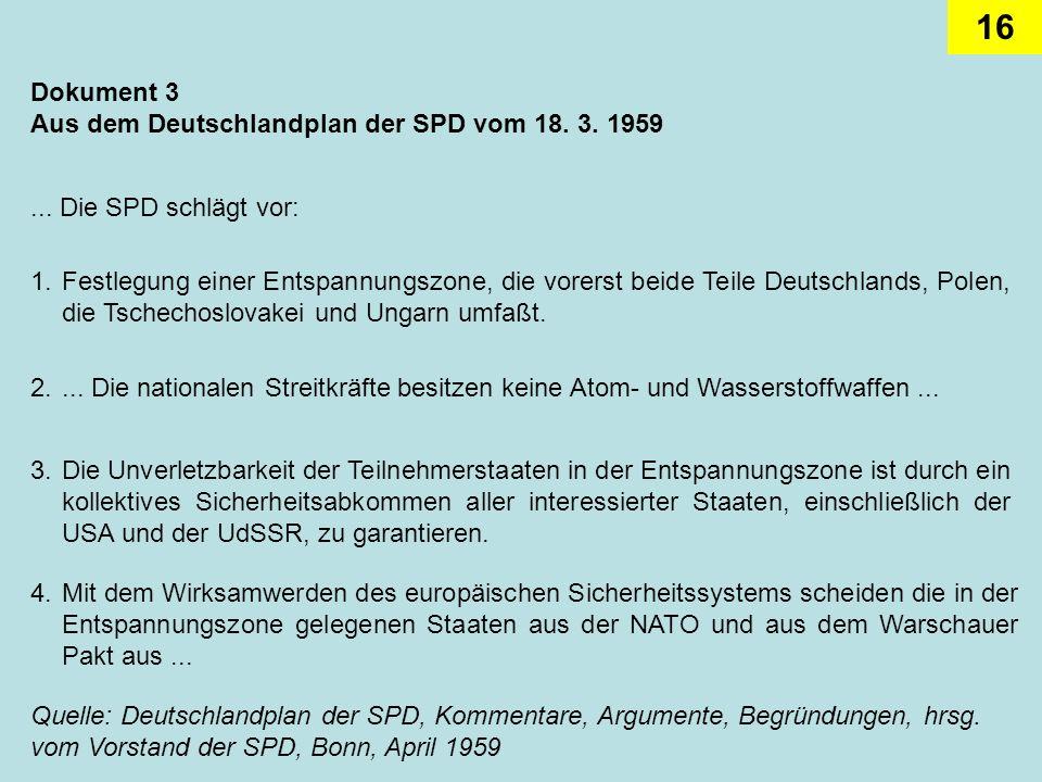 Dokument 3Aus dem Deutschlandplan der SPD vom 18. 3. 1959. ... Die SPD schlägt vor: