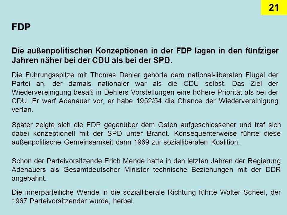 FDPDie außenpolitischen Konzeptionen in der FDP lagen in den fünfziger Jahren näher bei der CDU als bei der SPD.